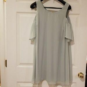 Sage cold shoulder dress